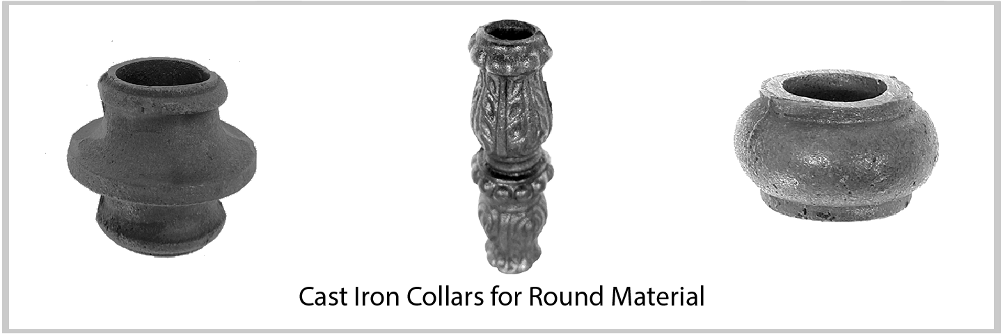Cast Iron Collars and Knuckles For Round Material. Excellent Quality from Superior Ornamental Supply.