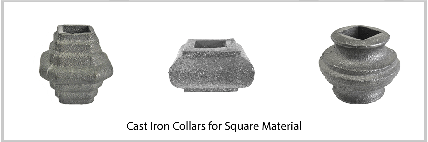 Cast Iron Collars and Knuckles for Square Material. Wide variety and Excellent Quality from Superior Ornamental Supply.