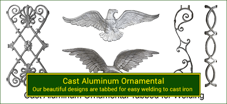 Cast aluminum ornamentals tabbed for welding to wrought iron installations. Wide variety and Excellent Quality from Superior Ornamental Supply.