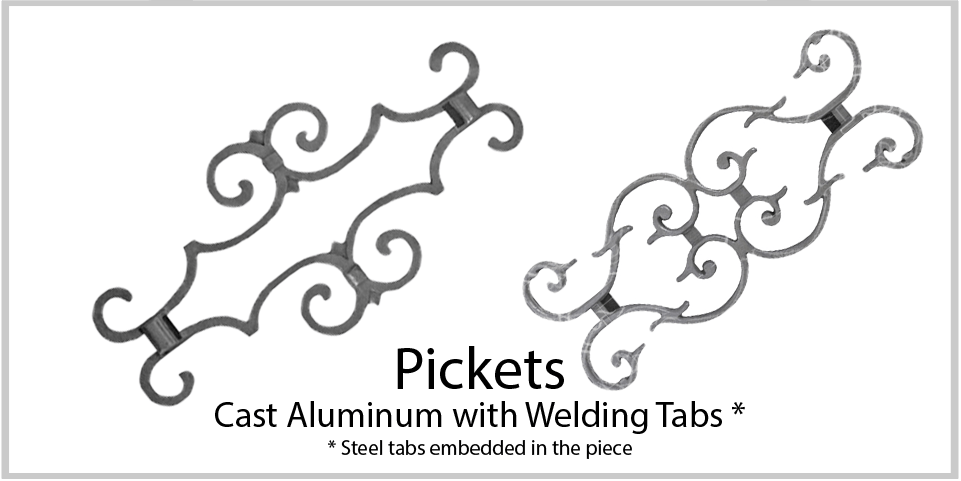 Aluminum castings - Cast pickets. Wide variety and Excellent Quality from Superior Ornamental Supply.
