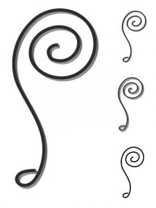 Custom steel scroll forged to customer's design and size. Design FCSN-04. This and other wrought iron scrolls forged to any size in any quantity. Superior Ornamental Supply