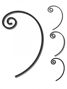 Custom steel scroll forged to customer's design and size. Design FCST-01. This and other wrought iron scrolls forged to any size in any quantity. Superior Ornamental Supply