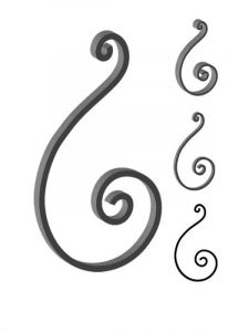 This custom forged steel scroll follows a popular design from scrolls we keep in inventory. SUI70-929CS This and other wrought iron scrolls forged to any size in any quantity. Superior Ornamental Supply