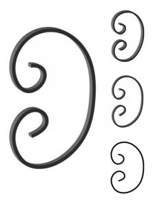 This custom forged steel scroll follows a popular design from scrolls we keep in inventory. SUI70-934CS This and other wrought iron scrolls forged to any size in any quantity. Superior Ornamental Supply