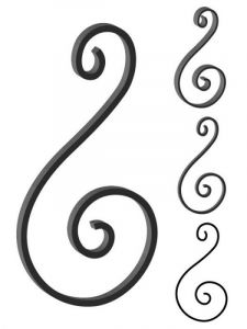 This custom forged steel scroll follows a popular design from scrolls we keep in inventory. SUI70-938CS This and other wrought iron scrolls forged to any size in any quantity. Superior Ornamental Supply