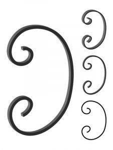 This custom forged steel scroll follows a popular design from scrolls we keep in inventory. SUI70-942CS This and other wrought iron scrolls forged to any size in any quantity. Superior Ornamental Supply