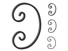 This custom forged steel scroll follows a popular design from scrolls we keep in inventory. SUI70-946CS This and other wrought iron scrolls forged to any size in any quantity. Superior Ornamental Supply