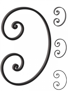 This custom forged steel scroll follows a popular design from scrolls we keep in inventory. SUI70-970CS This and other wrought iron scrolls forged to any size in any quantity. Superior Ornamental Supply