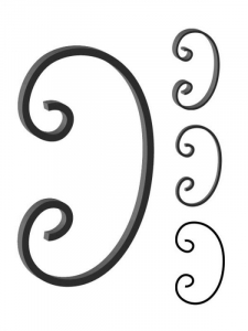 This custom forged steel scroll follows a popular design from scrolls we keep in inventory. SUI70-944CS This and other wrought iron scrolls forged to any size in any quantity. Superior Ornamental Supply