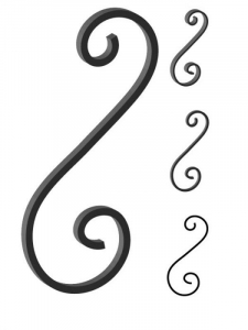 This custom forged steel scroll follows a popular design from scrolls we keep in inventory. SUI70-952CS This and other wrought iron scrolls forged to any size in any quantity. Superior Ornamental Supply