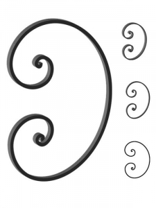 This custom forged steel scroll follows a popular design from scrolls we keep in inventory.  SUI70-968CS This and other wrought iron scrolls forged to any size in any quantity. Superior Ornamental Supply